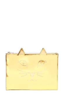 CHARLOTTE OLYMPIA 'Kitty' pochette in metallic leather