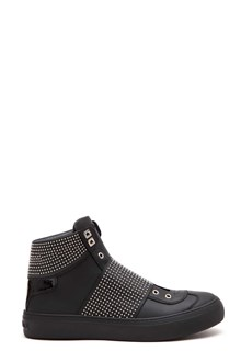 JIMMY CHOO Calf leather 'Archie hi top' sneaker with elastic studded band