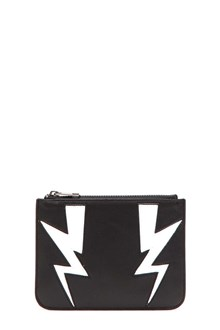 NEIL BARRETT 'abstracted bolt' small zip wallet