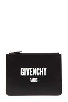 GIVENCHY 'Givenchy Paris' print  zipped leather clutch