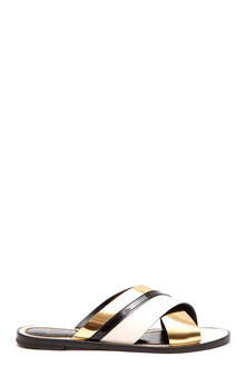 LANVIN Slippers bicolor crossed by Lanvin: slippers with crossed ivory/gold bands
