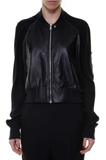 RICK OWENS Leather zipped jacket with pocket in the sleeve