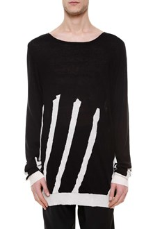 HAIDER ACKERMANN Cotton sweater with raw hem details and  white sripes printed