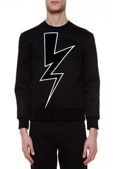 NEIL BARRETT 'velvet abstracted bolt' cotton and jersey sweater