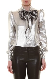 SAINT LAURENT Lurex bow blouse