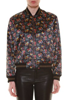 SAINT LAURENT 'Teddy' viscose zipped bomber jacket with 'Flowers' print