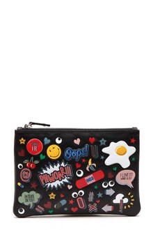ANYA HINDMARCH 'All over stickers' calf leather pochette