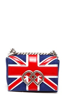 DSQUARED2 'flag' print logoed chain clutch