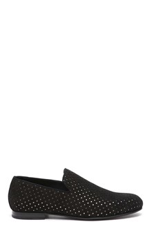 JIMMY CHOO 'Sloane' black star perforated suede slippers
