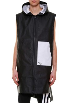 Y-3 Long reversibile vest jacket with hoodie