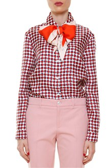 GUCCI Polka dot shirt with bow in the collar