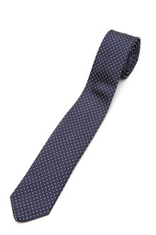 SAINT LAURENT SIGNATURE PIN DOT SLIM TIE IN BLU AND OFF WHITE SILK JACQUARD