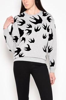 McQ ALEXANDER McQUEEN 'Swallows' velour printed cotton sweatshirt