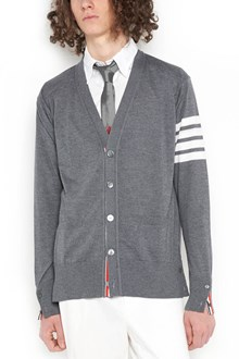 THOM BROWNE classic v-neck cardigan in fine merino wool with buttons closure