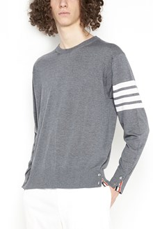 THOM BROWNE crew neck knitwear with stripes on sleeve