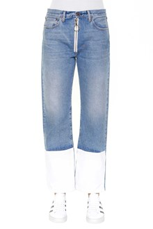 OFF-WHITE Vintage wash denim zipped jeans with front patch