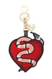 GUCCI Leather keyring with heart and snake