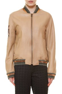 MR & MRS ITALY Leather bomber jacket with patches and front zip