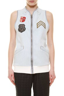 MR & MRS ITALY Zipped embroidered sleeveless jacket with patch