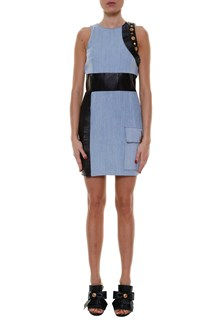 FAUSTO PUGLISI Denim dress with leather inserts and embellishment