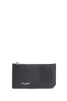 SAINT LAURENT calf leather credit card wallet with zip