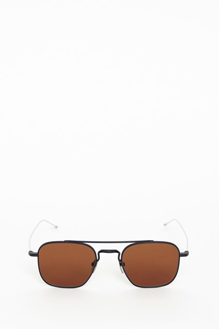 THOM BROWNE Silver sunglasses with colored lens