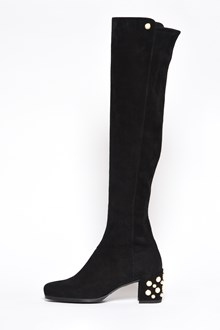 STUART WEITZMAN 'Infrontpearls' suede boots with pearls