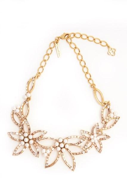 OSCAR DE LA RENTA Floral baguette pearl necklace