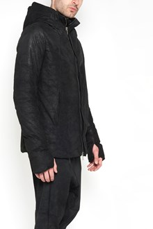 10SEI0OTTO Zipped hooded leather down jacket