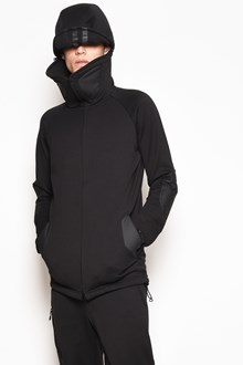 Y-3 Zipped hooded sweatshirt with elbows detail