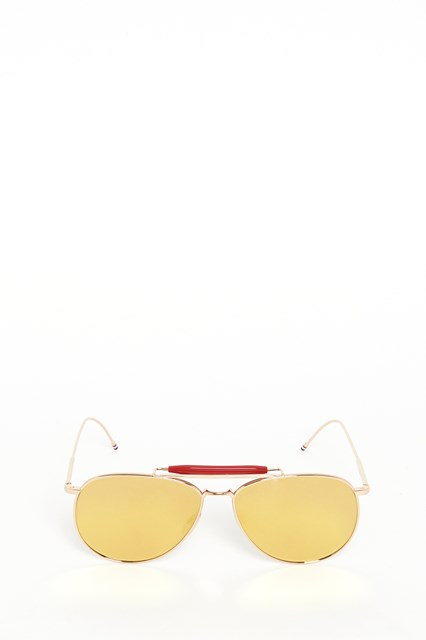 THOM BROWNE Gold red mirrored sunglasses