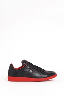 MAISON MARGIELA Leather sneaker with red sole and seams