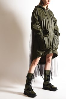 MOSCHINO Hooded parka with tulle application on the back