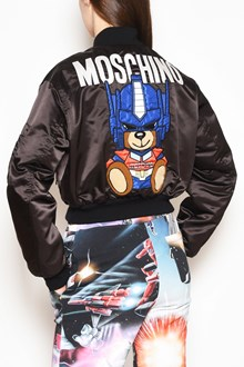MOSCHINO Short zipped bomber jacket with 'Robot bear' patch