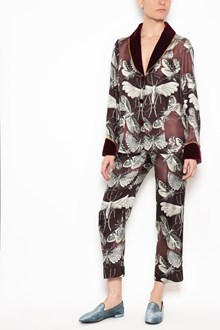 F.R.S. - FOR RESTLESS SLEEPERS 'Pluto' silk suits with 'Butterflies' print, velvet details and 'Boyfriend' pants