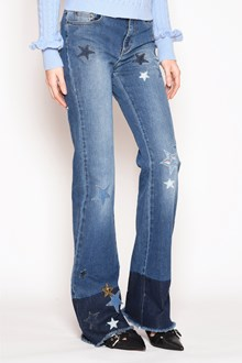 REDVALENTINO 'Stars' embroidered fringed denim bellbottom jeans