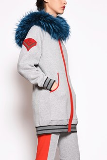 MR & MRS ITALY Cotton and raccon fur embroidered long sweatshirt with topwaffle hoodie in murymasky fur