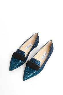 JIMMY CHOO Glittered flats with bow