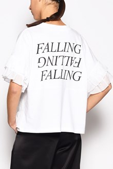 McQ ALEXANDER McQUEEN Cotton ruffle sleeved shirt with 'Falling' print on the back and ruffle in front bottom half