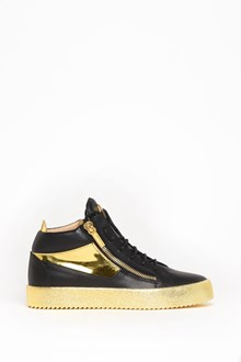 GIUSEPPE ZANOTTI DESIGN Leather sneaker with gold zip, detail and sole