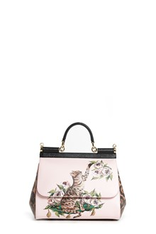 DOLCE & GABBANA 'Sicily' leather large hand bag with 'Zambia' print and 'Leopard' print on the side