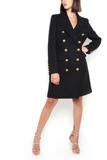 BALMAIN double-breasted long trench with revers