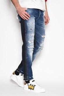DOLCE & GABBANA 'Classic' denim patchwork destroyed cropped jeans. Crutch14, Drop17