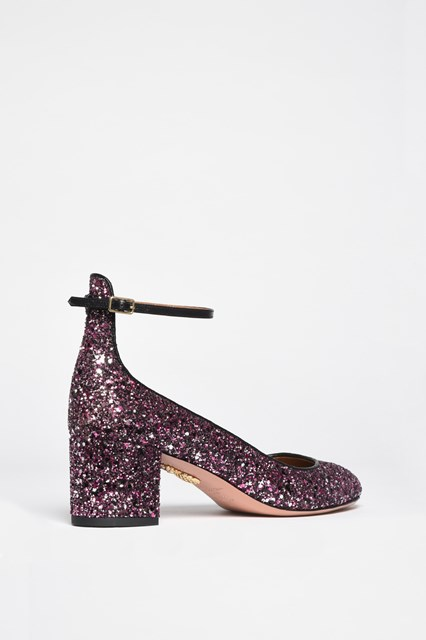 AQUAZZURA 'Alyx pump' leather glittered pumps with ankle strap
