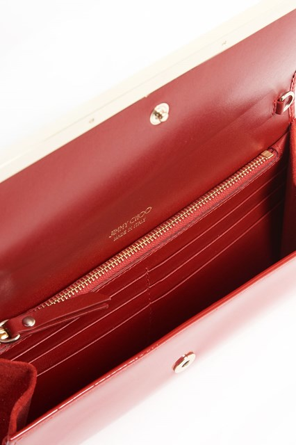JIMMY CHOO 'Milla' patent leather wallet with chain