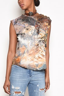BALMAIN sleeveless t-shirt with  print and buttons on shoulder