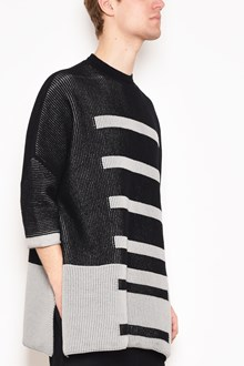 RICK OWENS 'Fisherman' crew-neck bicolor sweater with side splits