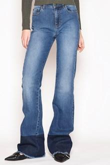REDVALENTINO Fringed denim bellbottom jeans