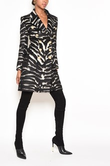 BALMAIN Animalier all over print double breasted coat