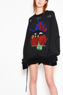 MAISON MARGIELA Round-neck sweatshirt with embroideries oversize
